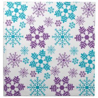 Winter-Märchenland-Schneeflocken blau und lila Serviette