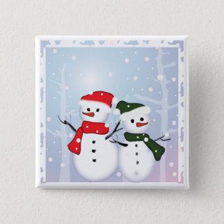 Winter-Märchenland-Schneemann unser erstes Quadratischer Button 5,1 Cm
