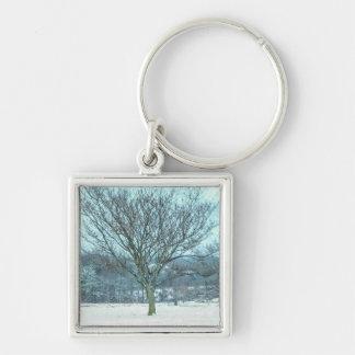 Winter-Mimose Painterly Schlüsselanhänger