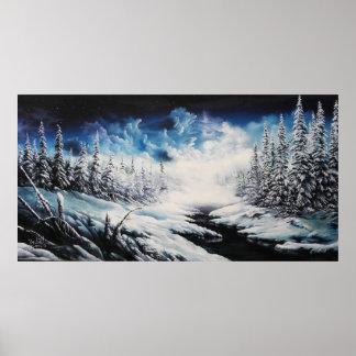 Winter-Mondschneeszenen-Leinwandmalerei für Verkau Posterdruck