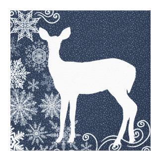 Winter-Nachthimmel-weiße Rotwild eingewickelte Gespannte Galeriedrucke
