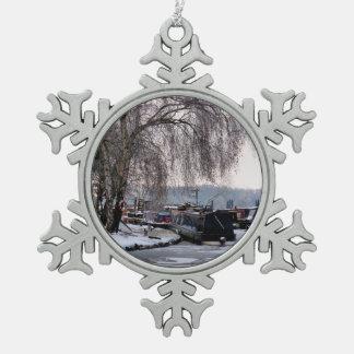 WINTER NARROWBOATS SCHNEEFLOCKEN Zinn-Ornament