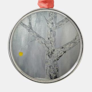 Winter-Obstgarten-Szene Silbernes Ornament