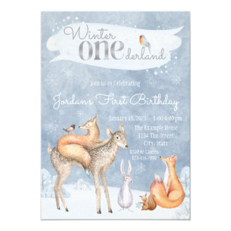 Winter ONEderland 1. Geburtstags-Party Karte