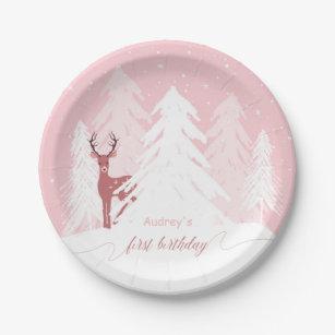 Winter Onederland erster Geburtstags-rosa Pappteller