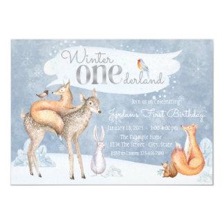 Winter ONEderland erstes Geburtstags-Party Karte