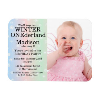 Winter Onederland Foto-Geburtstags-Einladung Magnet