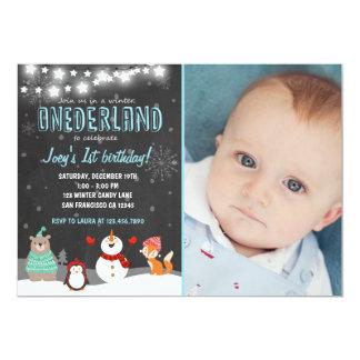 Winter ONEderland Geburtstags-Party Einladungsblau Karte