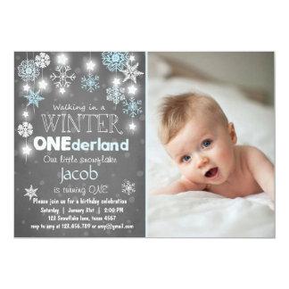 Winter Onederland Geburtstags-Party laden blauen Karte