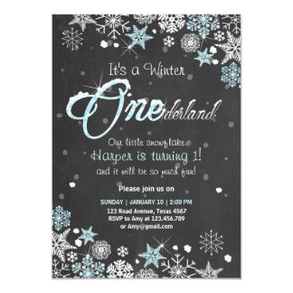 Winter Onederland Geburtstags-Party laden blaues Karte