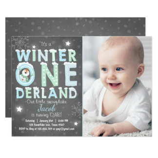Winter Onederland Geburtstags-Party laden Karte