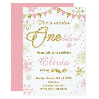 Winter Onederland Geburtstagseinladung Rosa-Gold Karte