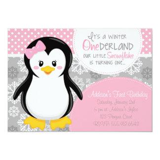 Winter ONEderland rosa Pinguin-Einladung Karte