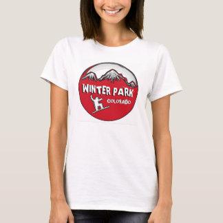 Winter-Park-Colorado rotes Snowboard-Dament-stück T-Shirt