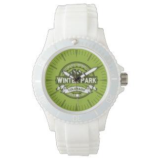 Winter-Park-Grün-Uhr Uhr