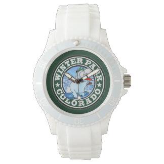 Winter-Park-Schneemann-Kreis-Uhr Armbanduhr