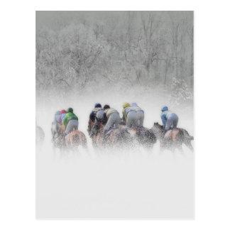 Winter-Pferderennen Postkarte