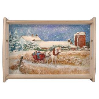 Winter-Pferdeschlitten-Fahrt Tablett
