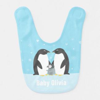 Winter-Pinguin-Familien-Baby-Schellfisch-Blau Babylätzchen