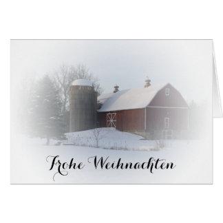 Winter Red Barn Frohe Weihnachten German Christmas Grußkarte
