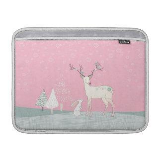Winter-Ren und Häschen in fallendem Schnee Sleeve Fürs MacBook Air