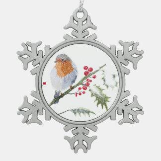 Winter Robin Schneeflocken Zinn-Ornament
