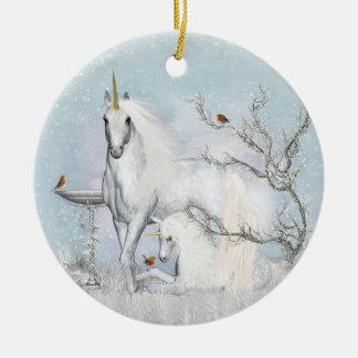 Winter-Rotkehlchen u. Unicorns-Keramik-runde Keramik Ornament