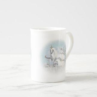 Winter-Rotkehlchen-und Einhorn-Tee-Schale Porzellantasse