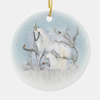 Winter-Rotkehlchen und Unicorns-Keramik-runde Keramik Ornament