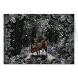 Winter-Rotwild Grußkarte