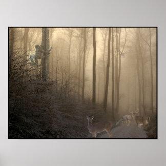 Winter-Rotwild-Szene Poster