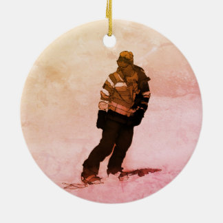 Winter-Ruhe - Snowboarder Keramik Ornament