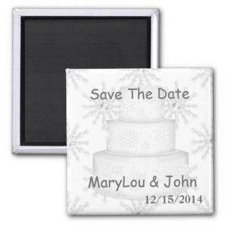 Winter Save the Date WEDDING Magneten Quadratischer Magnet