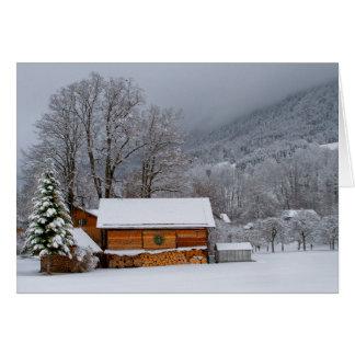 Winter-Scheunen-Feiertags-Karte Karte
