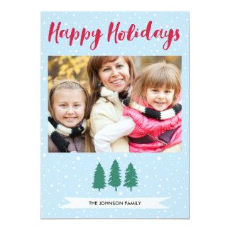 Winter-Schnee-Baum-glückliches 12,7 X 17,8 Cm Einladungskarte