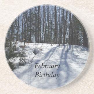 Winter-Schnee Szene-Februar Geburtstag Sandstein Untersetzer