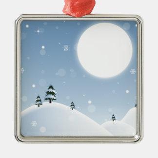 Winter-Schnee-Szene Quadratisches Silberfarbenes Ornament