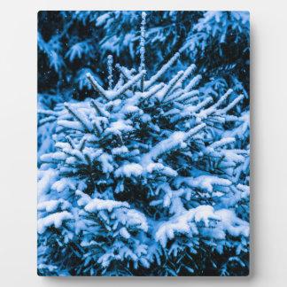 Winter-Schnee-Weihnachtsbaum Fotoplatte