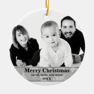 Winter-Schneeflocke-Foto-Weihnachtsverzierung Keramik Ornament