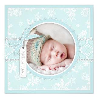 Winter-Schneeflocke-Geburts-Mitteilungs-Foto-Karte Individuelle Ankündigungskarte