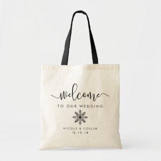 Winter-Schneeflocke-Hochzeits-Willkommen Tragetasche
