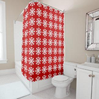 Winter-Schneeflocke-rotes weißes Duschvorhang