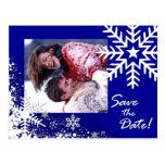 Winter-Schneeflocke-Save the Date (lapis) Foto Postkarte