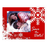 Winter-Schneeflocke-Save the Date (Rot) Foto Postkarte