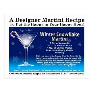 Winter-Schneeflocke-Weihnachtsmartini-Rezept-Postk Postkarte