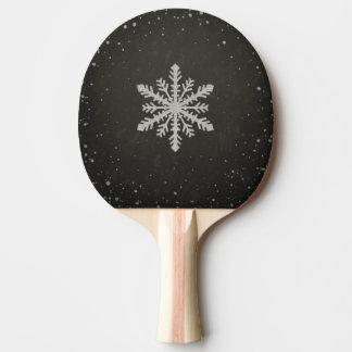 Winter-Schneeflocke-weißes Kreide-Zeichnen Tischtennis Schläger