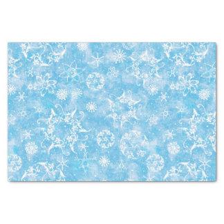 Winter-Schneeflocken auf Blau Seidenpapier