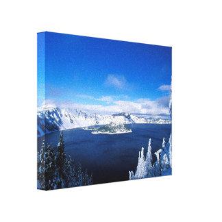 Winter-See eingewickelte Leinwand