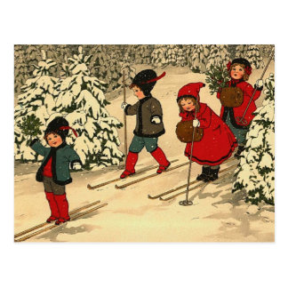Winter-Skifahren Postkarte