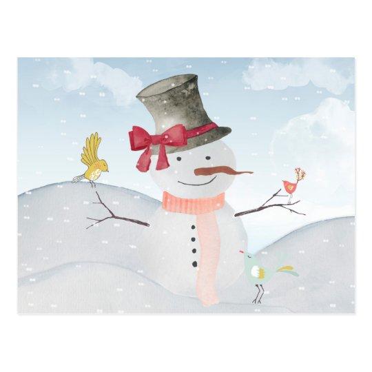 Winter Snowman animal snow animal illustration Postkarte